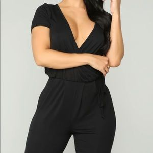 Black surplice tie jumpsuit